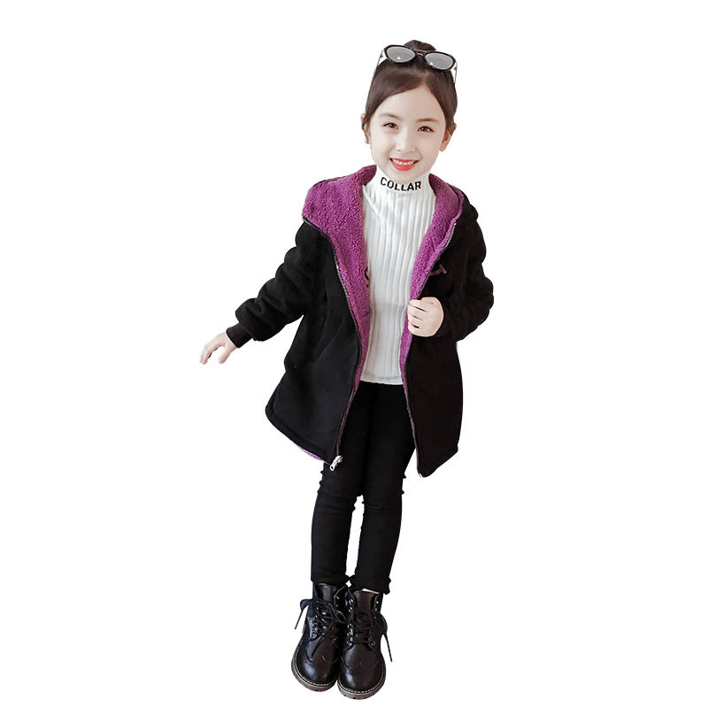 Girls Coat New Style Lambswool Reversible Little Girl Hooded Cardigan Autumn And Winter