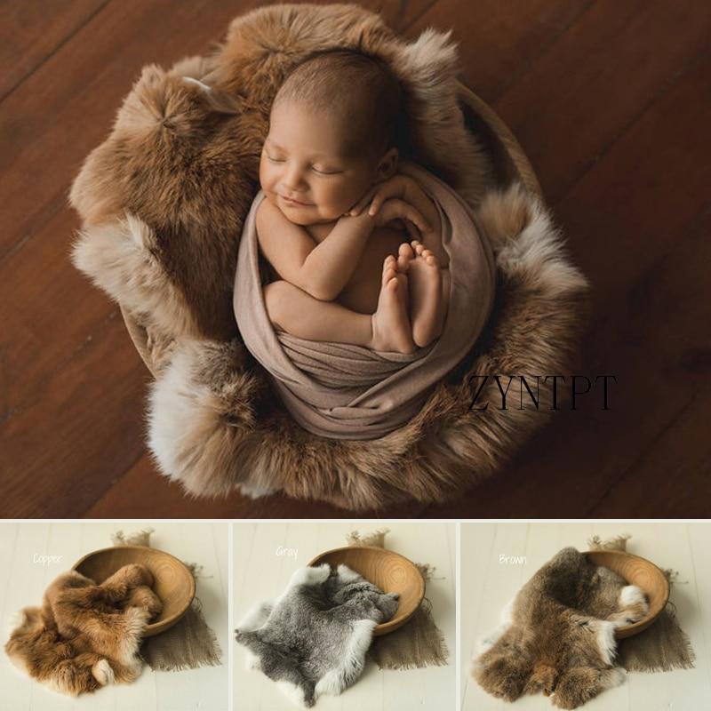 100% Natural Rabbit Fur Blanket Basket Filler For Newborn Photography Props Accessories Baby Photo Shoot Fotografia Photoshoot|Hats & Caps| - AliExpress