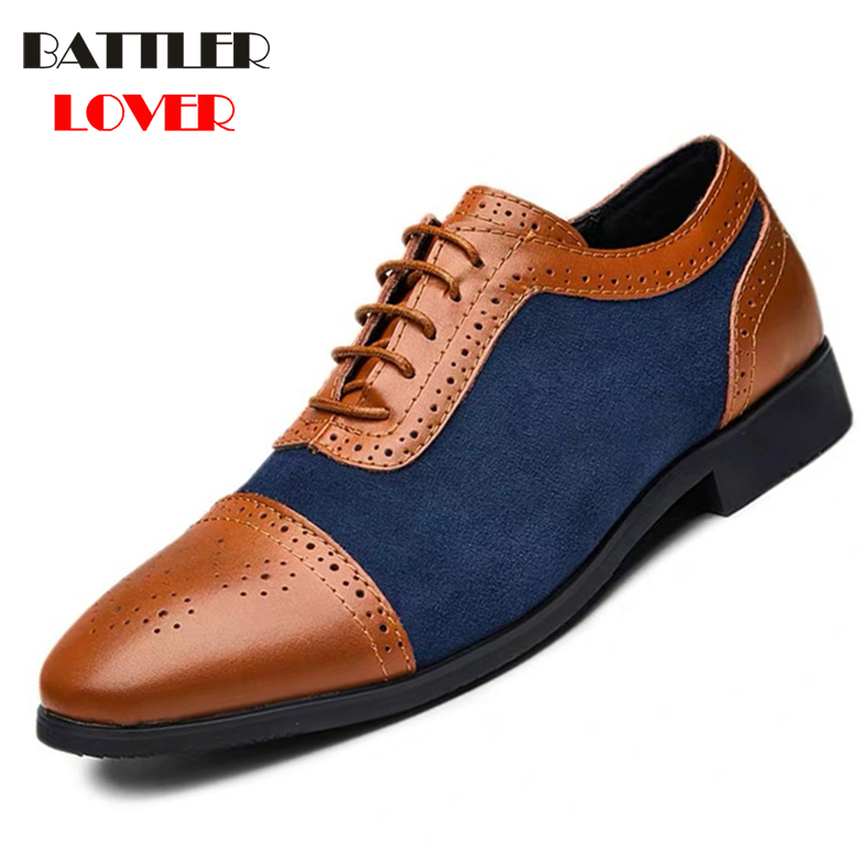 Luxury Men Brogue Leather Dress Shoes Business Casual Oxford Shoes Breathable Formal Wedding Footwear Big Size 38-48