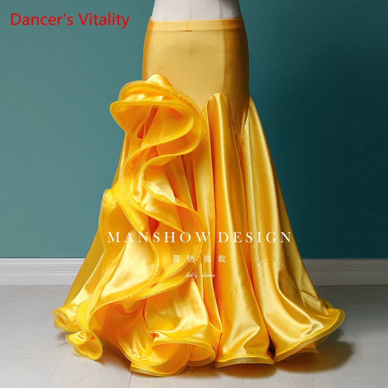 Belly Dance Skirt Women New Sexy Fairy Models Satin Bag Hip Dress Professional Custom Dance Long Skirt