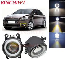 2x High power H11 LED Fog Lamps Angel Eye light with Glass len 12V For Peugeot 301 2013 2014 2015 2016 2017