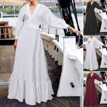 Women's Dress ZANZEA 2020 Female Elegant V Neck High Slim Waist Party Dress Floor Long Vestidos Solid Ruffles Hem Maxi Sundress(China)
