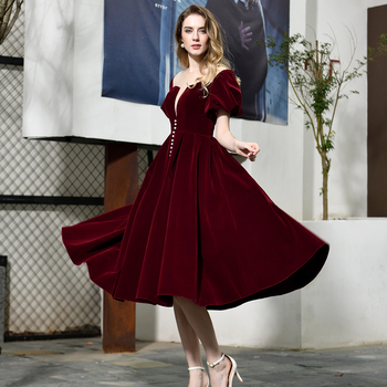 New Burgundy Evening Dress gala jurken Velour Sheer Neck A Line Cap Sleeves Ankle Length Prom Party Gown - discount item  50% OFF Special Occasion Dresses