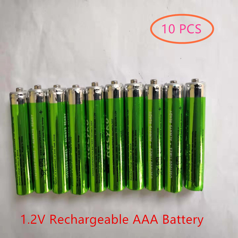 10 Pcs AAA 820mAh 1.2 V Quanlity Rechargeable Battery NI-MH 1.2V Rechargeable AAA Battery For Remote Control Toy