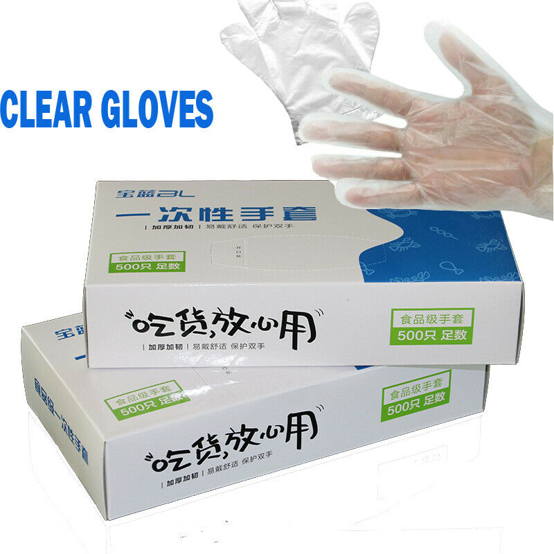 100 Disposable Clear Vinyl Gloves Powder Latex Free Cleaning Spa Hair Salon Food Catering Beauty Kitchen Disposable Gloves Safe