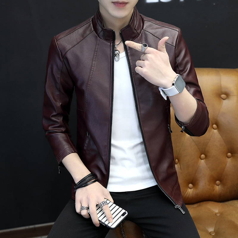 2020 Men Stand Collar Casual Leather Coat Youth Slim Fit Trend Handsome Fashion PU Leather Jacket