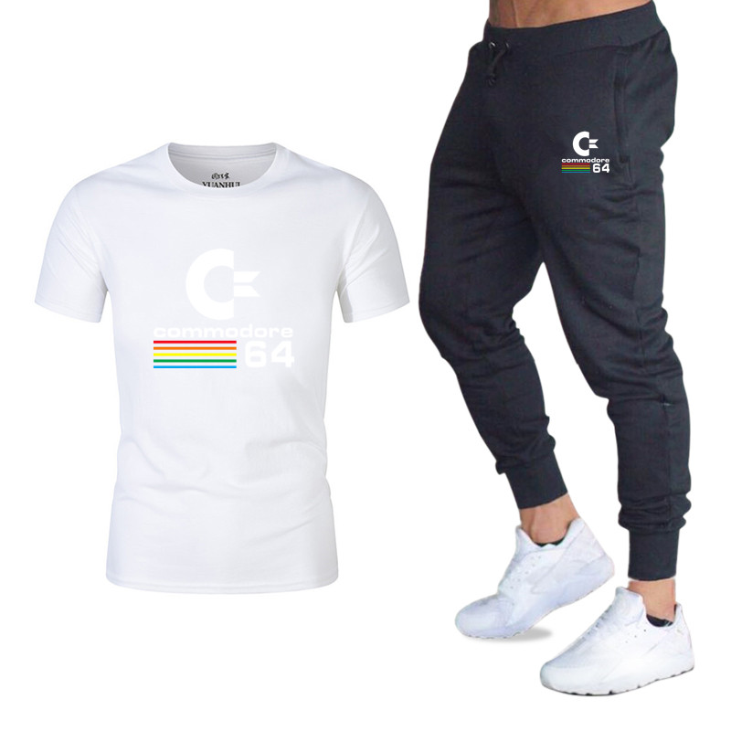 2020Summer New Suit T-shirt + Pants Men's Brand Clothing Two-piece Suit Sportswear Fashion Casual T-shirt Gym Exercise Fitness S