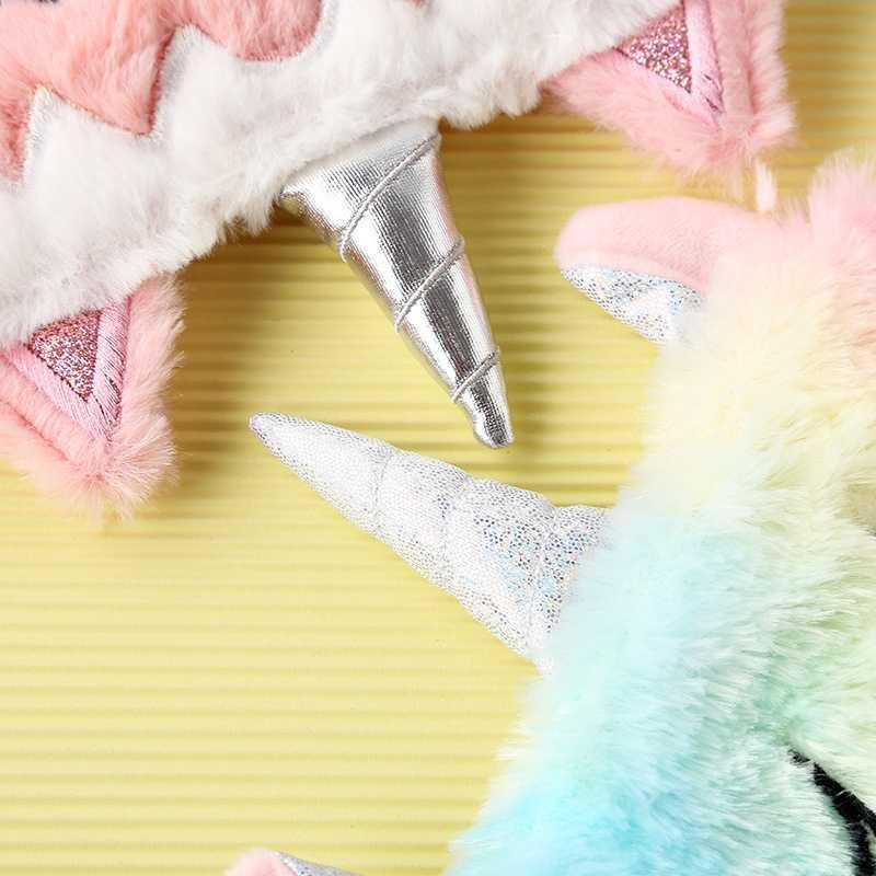 Kawaii Unicorn göz maskesi renkli tek boynuzlu at peluş hayvanlar uyku peluş karikatür tek boynuzlu at seyahat gölgeleme göz maskeleri oyuncaklar kız hediye için