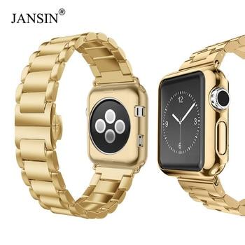 Luxury Stainless Steel Strap+case For apple watch 44/40mm 42mm 38mm band Metal bracelet for iWatch Series 6 SE 5 4 3 wrist belt