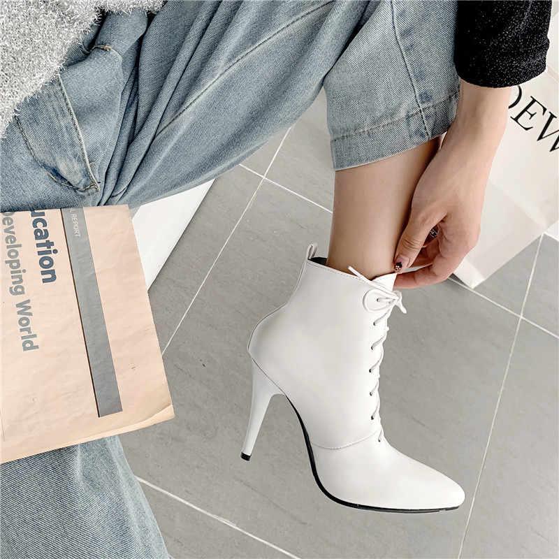 ASUMER artı boyutu 34-48 moda yarım çizmeler sivri burun lace up sonbahar kış çizmeler zarif bayanlar balo çizmeler kadın 2020 yeni