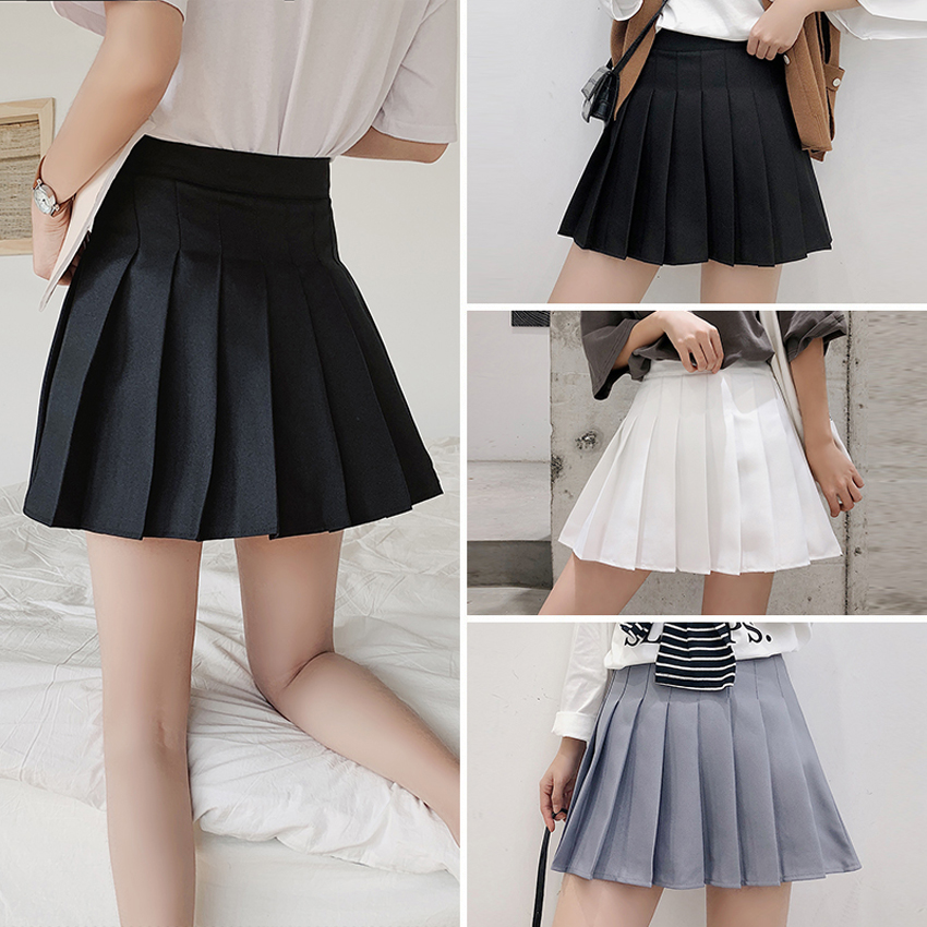 Fashion Japanese Style Women Pleated Skirt Black High Waist Above Knee Mini Skirt Student Girls School Uniform With Safety Pants