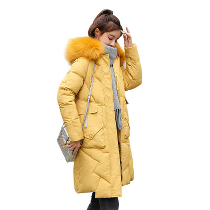 2019 New winter Slim Women Hooded   parka   fur collar zipper fashion Mid-Long Thick warm Down cotton jacket clothing Female C105