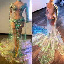 Shining Sequin Pearls Tassel Evening Party Mermaid Dress Women Nude Birthday Celebration Trailing Long Dress Cosplay Stage Wear