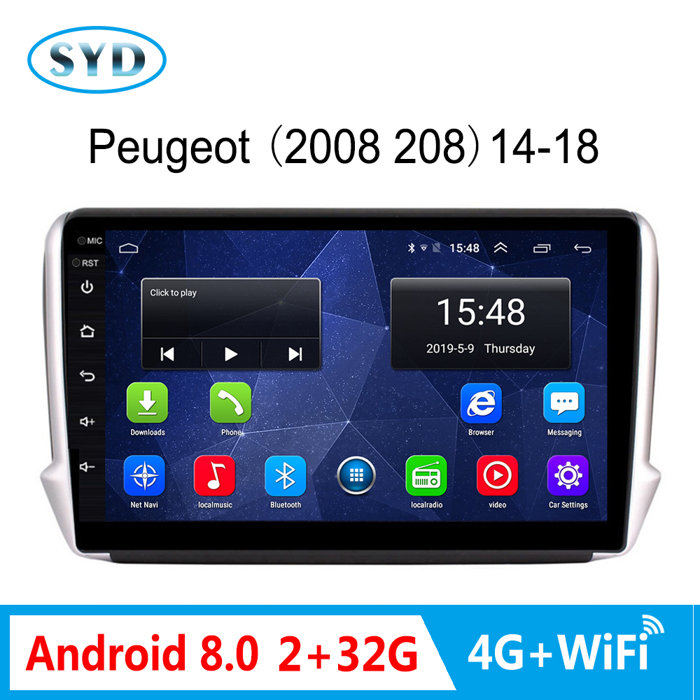 4G car radio For <font><b>Peugeot</b></font> 2008 <font><b>208</b></font> series 2014-2018 multimedia stereo Android 8.0 GPS Navigation Support SIM card BT/TV/WIFI/USB image