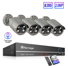 Techage 8CH h.265 1080P POE NVR Sistemi 4 adet 2 Way Ses Insansı Algılama CCTV IP Kamera Su Geçirmez güvenlik Gözetleme Kiti