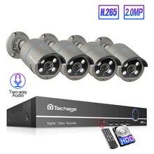 Techage 8CH h.265 1080P POE NVR System 4 stücke 2 Weg Audio Humanoiden Erkennung CCTV IP Kamera Wasserdicht sicherheit Überwachung Kit