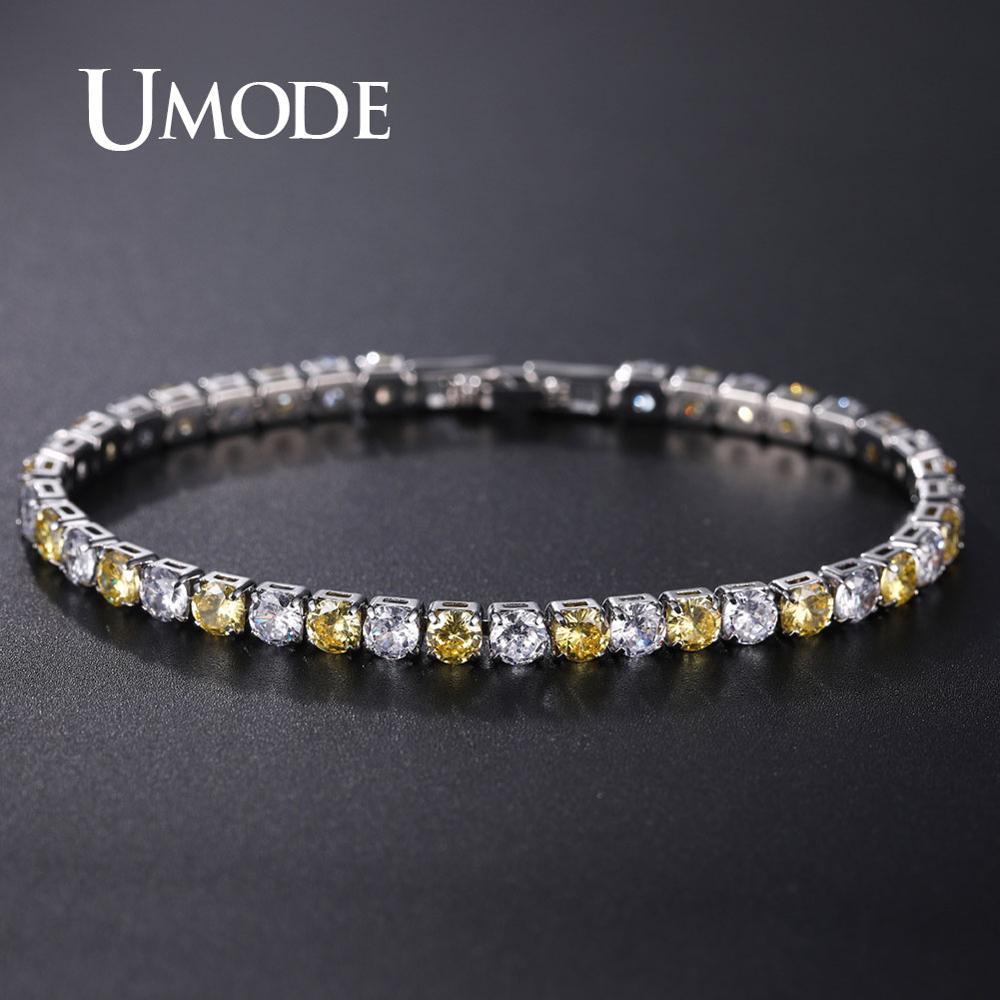 UMODE Wedding Crystal Zircon Tennis Bracelets for Women Yellow CZ Stone Luxury Bangles Femme Jewelry UB0097H
