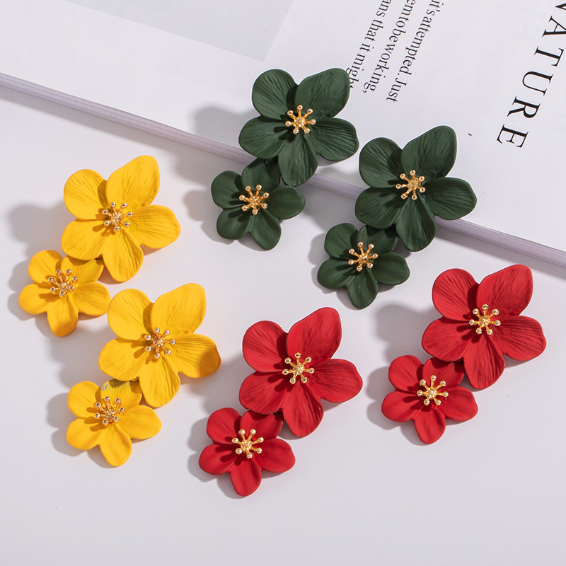 Double <font><b>Flower</b></font> <font><b>Earrings</b></font> <font><b>Trendy</b></font> <font><b>Cute</b></font> <font><b>Pink</b></font> <font><b>Flowers</b></font> studs <font><b>Earrings</b></font> <font><b>For</b></font> <font><b>Women</b></font> Wedding Party Jewelry Boho Metal <font><b>Earrings</b></font> Female image