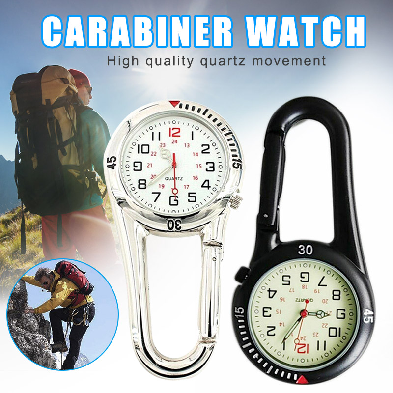 Clip On Sports Carabiner FOB Watch For Nurses Hiking Mountaineering Backpack KQS8