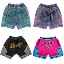 Hip Hop CHICAGO Fashion Denim Basketball Shorts with Pockets