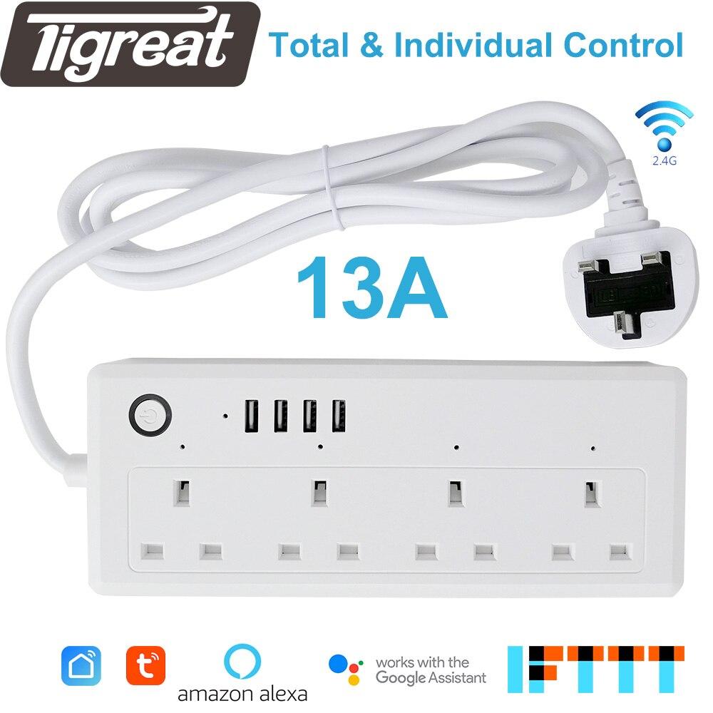 Wifi bande d'alimentation intelligente prise USB protection contre les surtensions Multi prise ue Extension prise télécommande minuterie adaptateur Tuya Alexa Google