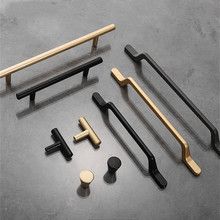 KK&FING European Simple Black Kitchen Cabinet Door Handles Matte Gold Aluminum Alloy Drawer Pulls Furniture Handle Hardware