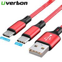 2 in 1 USB Kabel Micro USB Typ C Kabel Schnell Ladegerät Tablet Handy Kostenlos Schnur 2in1 Nylon Geflochtene Android USB C Lade Drähte