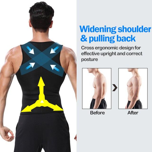 Men Body Shaper Waist Trainer Vest Slimming Shirt Sauna 3