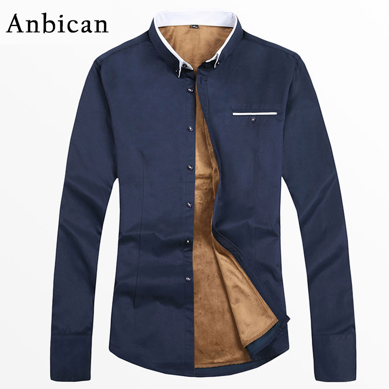 Anbican Fashion 2019 Winter Casual Shirt Men Long Sleeve Thicken Fleece Shirts Slim Fit Winter Warm Shirt