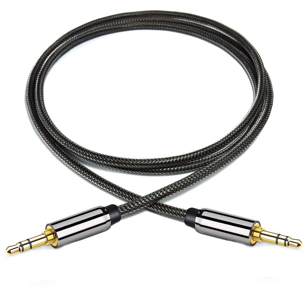 1m 2m 3m Nylon Jack Aux Cable 3.5 mm to 3.5mm Audio Cable Male to Male Kabel Gold Plug Car Aux Cord for iphone Samsung xiaomi image