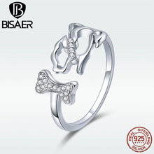 BISAER Silver Ring Genuine 925 Sterling Silver Lovely Dog and Bone Open Free Size Finger Rings for Women Fashion Jewelry GXR416 bisaer silver rings 925 sterling silver pet french bulldog open finger ring for women silver ring fashion jewelry hsr411