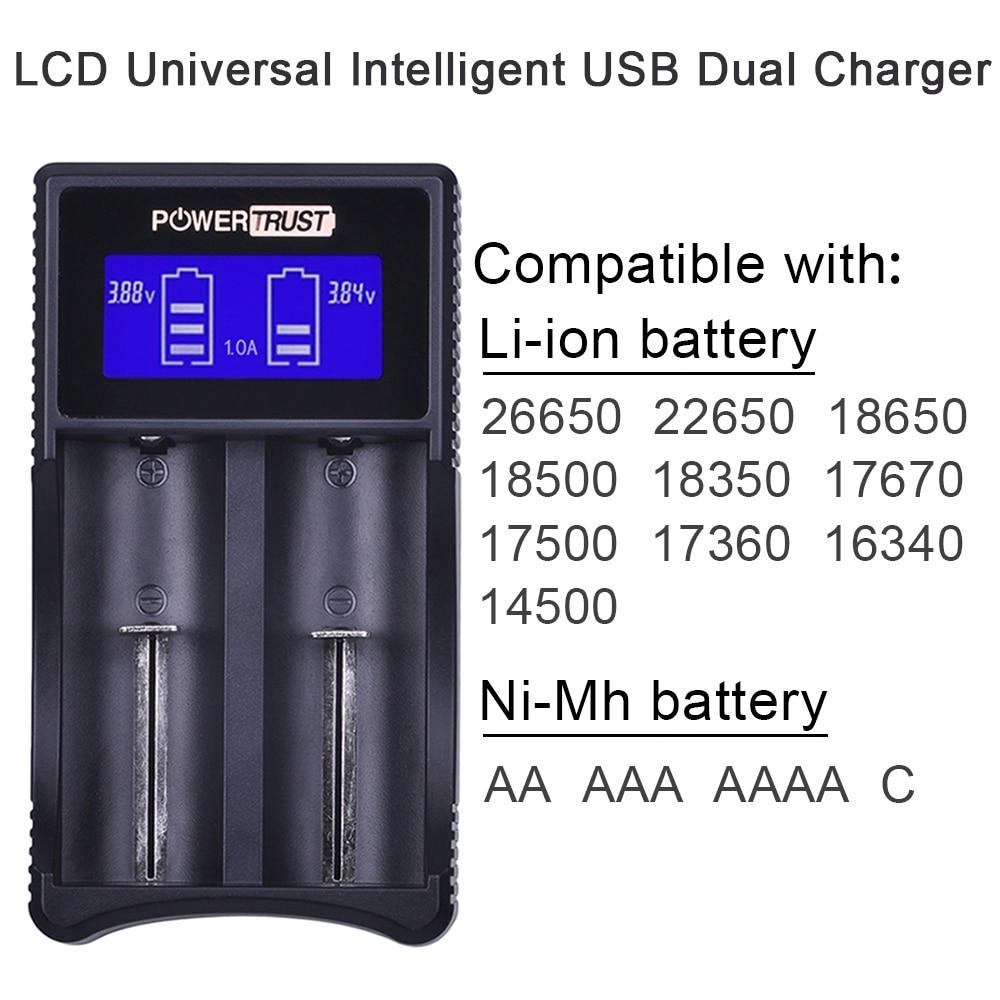 Universal Smart USB Battery Charger For 18650 26650 AAA AA 14500 16340 Li-ion