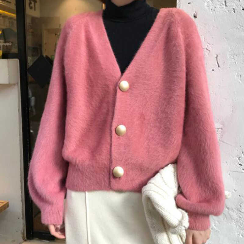 Mink Cardigan Elegant Women 2019 Autumn Winter Outerwear V-Neck Sweater Clothes Jumper Femme Loose Sweater Short Knitwear
