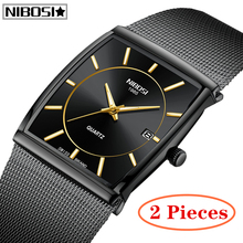 2Pcs Relogio Masculino NIBOSI Men Watch Top Brand Luxury Quartz Watch Men Big Dial Watches Sports Watches Mesh Belt Wrist Watch relogio masculino hot luxury men s watches faux leather band black dial fashion business wrist quartz watch men top quality