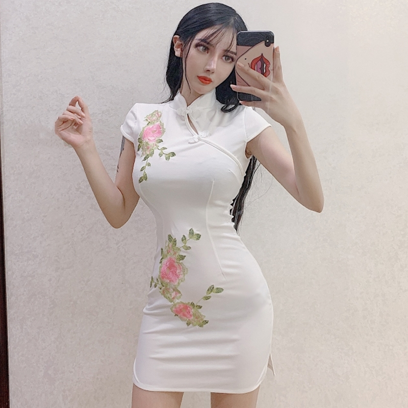 2020 Chinese Dress Asian Style Women Qipao Dress Evening Party Dress Sexy Short Sleeve Flower Print Elegant Improved Cheongsam