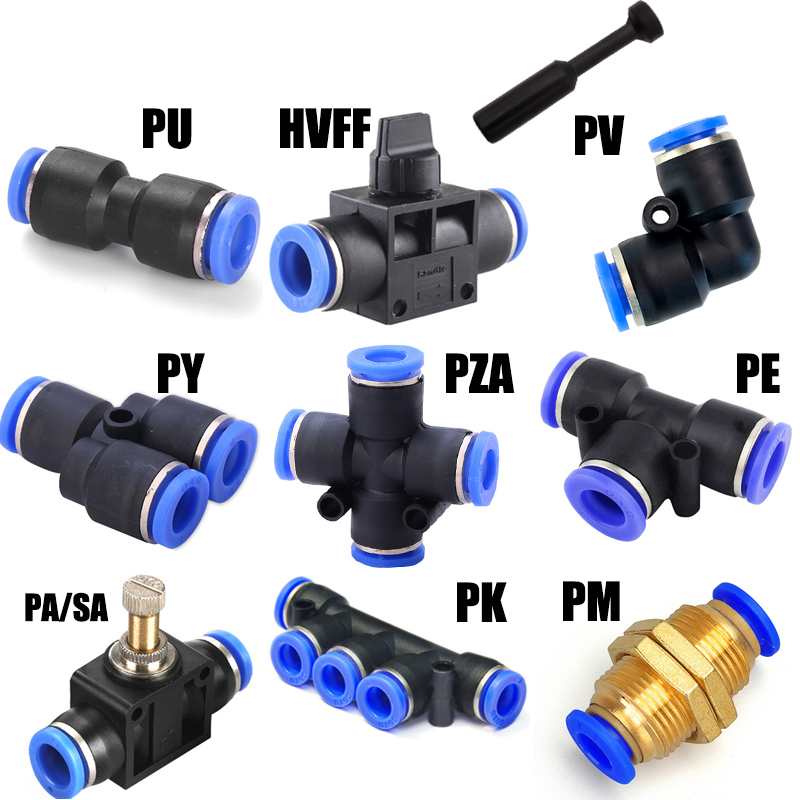 Pnömatik bağlantı parçaları PY/PU/PV/PE/HVFF/SA su boruları ve boru konnektörleri doğrudan itme 4 12mm/ PU plastik hortum hızlı kaplinler|Pnömatik Parçalar|   -