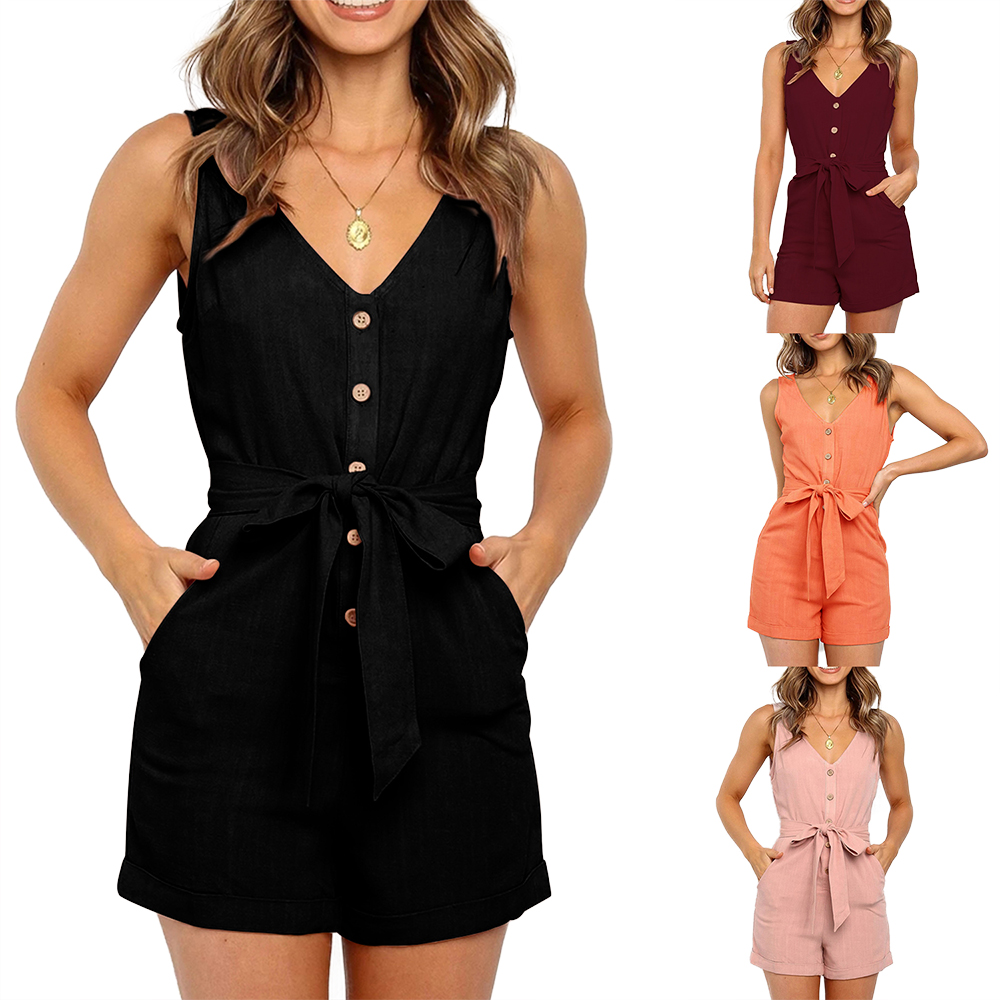 Women Playsuits Sexy V Neck Sleeveless Button Sashes Cotton Playsuits Casual Slim Pocket Pink Black Short Jumpsuit Femme Rompers