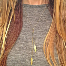 Simple Classic Pendant Necklace Feather Necklace Long Sweater Chain Statement Jewelry Choker Necklace For Women Leaf Chocker цена