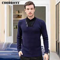 Бренд COODRONY, Мужская водолазка, модная, повседневная, для мужчин, Осень-зима, толстый, теплый свитер, для мужчин, на молнии, трикотаж, джерси, ...