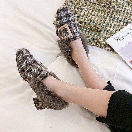 Hairy single shoes female 2019 new wild thick with the British wind a pedal small shoes 34