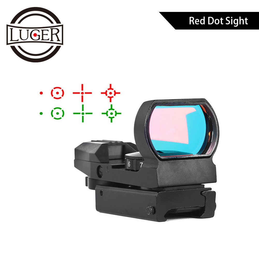 LUGER Hunting Optics Holographic Red Dot Sight Scope Tactical Reflex 4 Reticle 11/20mm Rail Collimator Sight Riflescope