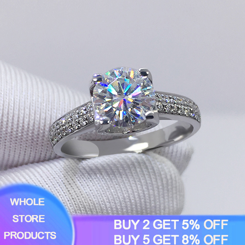 Big 98% OFF! Authentic 100% 925 Sterling Silver 8mm 2.0ct Zirconia Diamond Ring Wedding Fine Jewelry 2020 New Design 1