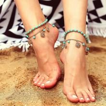 Bohemian Style Vintage Beach Anklet Female Handmade Beads Elegant Blue Crystal Rhinestone Pendant