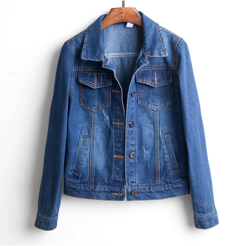 Ha7947d393d0f4e0a9bc1a1e29a6feaddk Plus Size Ripped Hole Cropped Jean Jacket 4Xl 5Xl Light Blue Bomber Short Denim Jackets Jaqueta Long Sleeve Casual Jeans Coat