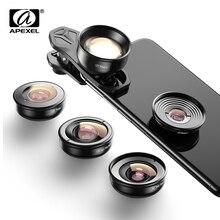 APEXEL lente de cámara HD 5 en 1 4K, telescopio macro ancho, lente súper ojo de pez para iPhone xs max Samsung s9, todos los teléfonos inteligentes