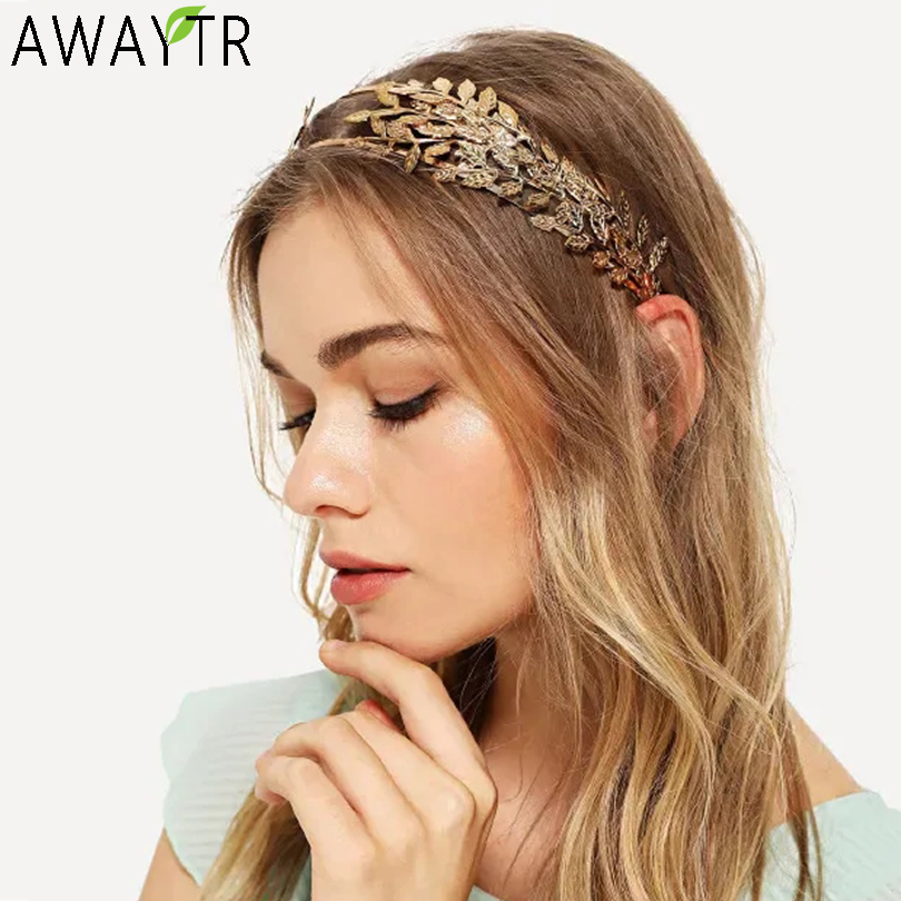 Hairband Headband Crowns Gold Metal Double Layer Leaf Design Wedding Hair Accessories Women Engagement Bridal Forehead Jewelry
