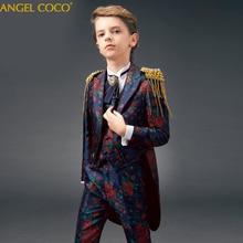 2019 Kids/Children Formal Boys Wedding/Tuxedo Suits 6pcs printing boy B