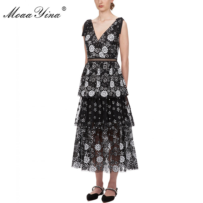 Image 2 - MoaaYina V neck Women dress Fashion Sexy Backless flower Female Sequins Tiered Midi dressDresses