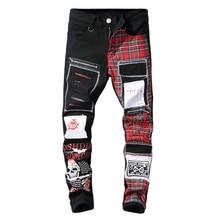 Мужские шотландский клетчатый джинсы в стиле пэчворк с принтом черепа модные черные рваные и потёртые джинсовые длинные штаны 28-42 EM166
