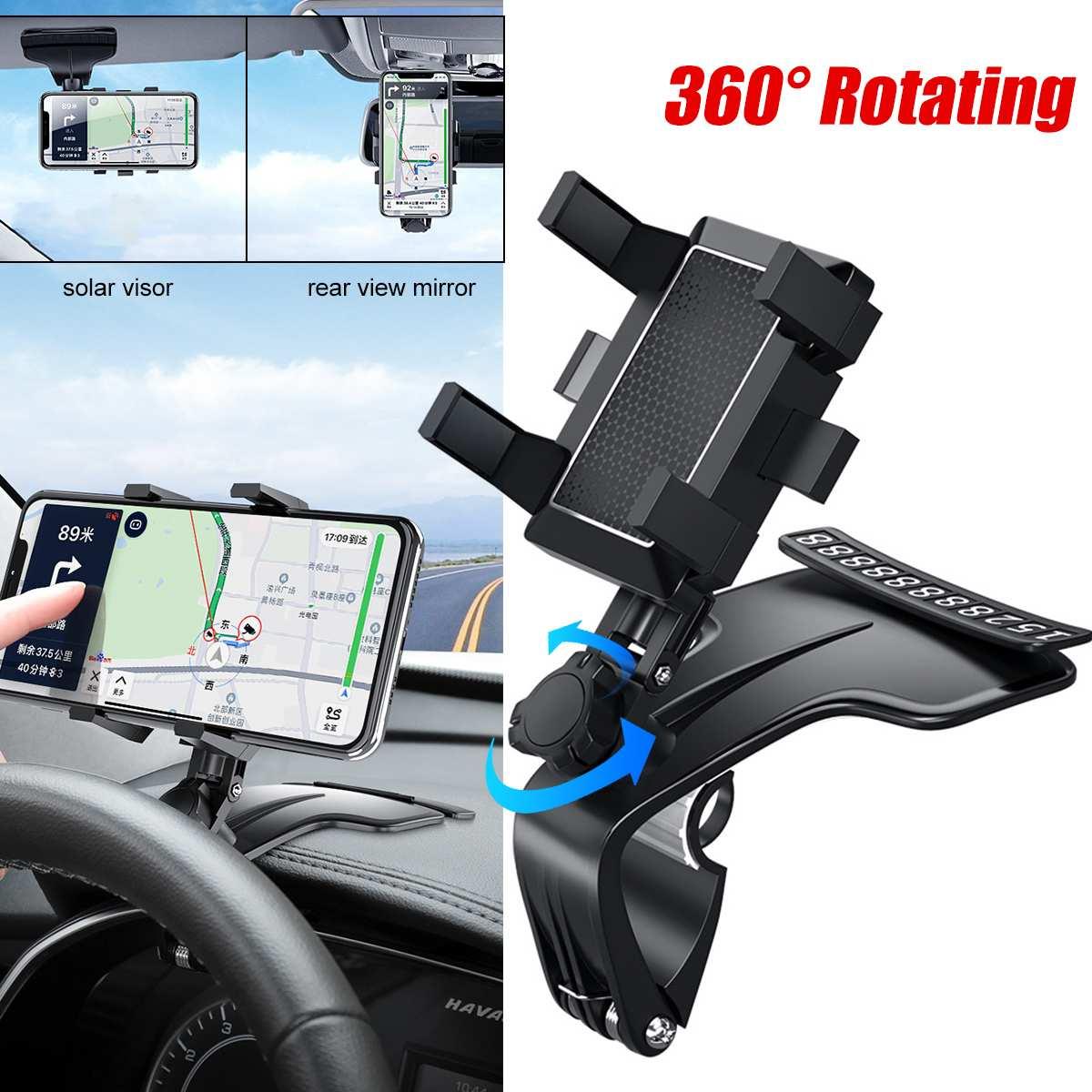 Автомобильный многофункциональный мобильный телефон кронштейн 360 градусов солнцезащитный козырек зеркало крепление на приборную панель ...